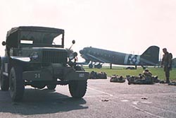 Dodge Command Car in the foreground with C-47 cut-out as a backdrop.