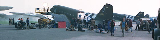 A panorama showing real C-47s with filming in progress.