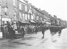 Home Guard stand down parade Marlborough (Wilts County Record Office)